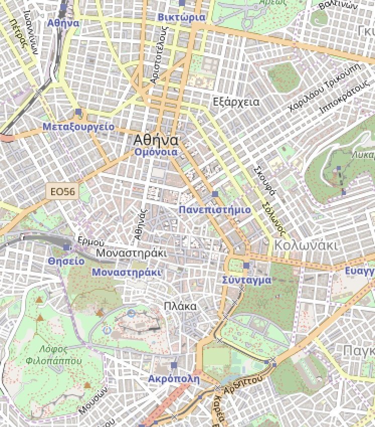 Map of central Athens
